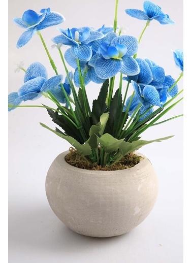 Kibrithane Çiçek Yapay Çiçek Beton Saksı Mini Mavi Kumaş Orkide Kc00200811 Renkli